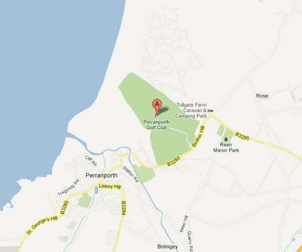 Perranporth Golf Club Location Map